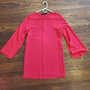 Zara Split Flare Sleeve Holiday Red Dress